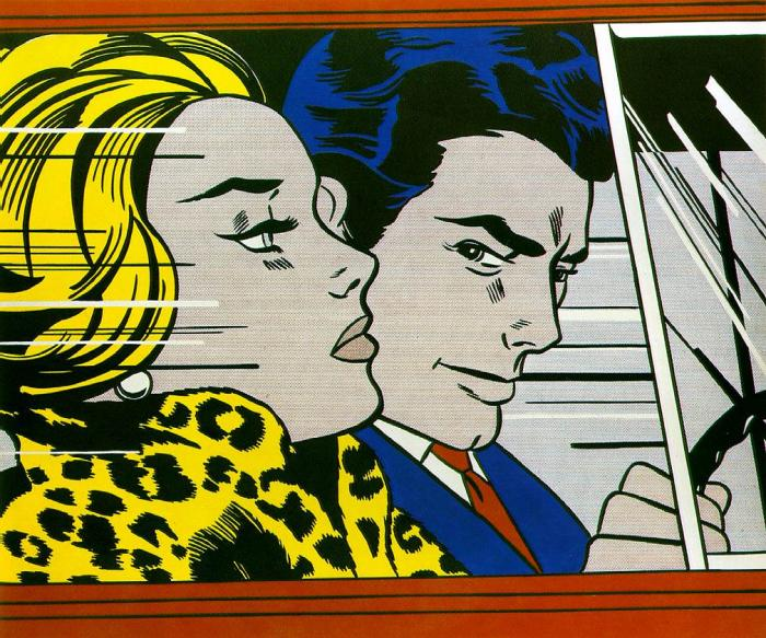 art history timelines view artwork roy lichtenstein in the car. Black Bedroom Furniture Sets. Home Design Ideas